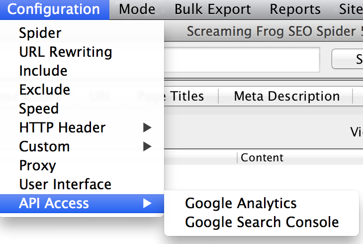 Conectar Search Console a Screaming Frog