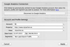 Integración de Google Analytics en URLProfiler