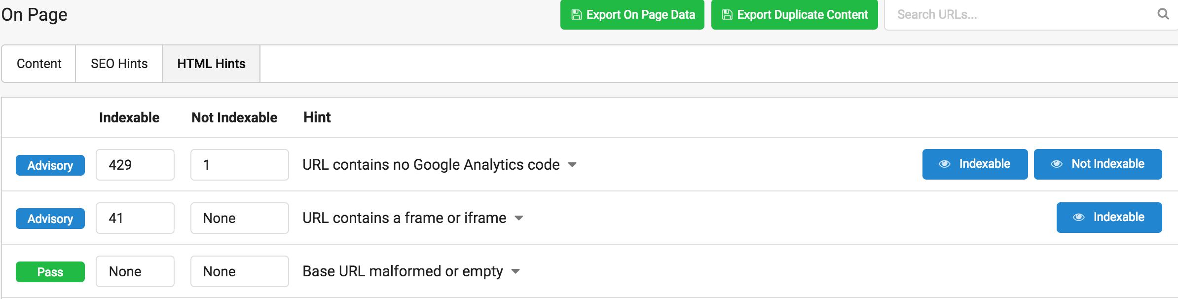html hints sitebulbs