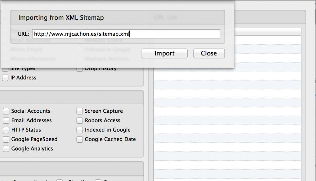 import from sitemap urlprofiler