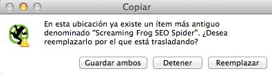 reemplazar versiones screaming frog